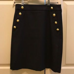 Sailor Button Black A-line skirt with Gold buttons